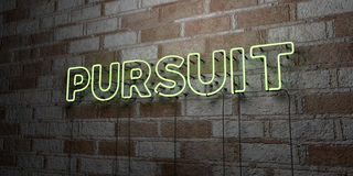 PURSUIT - Glowing Neon Sign on stonework wall - 3D rendered royalty free stock illustration. Can be used for online banner ads and direct mailers Royalty Free Stock Images