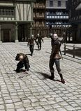 Pursuit through a Medieval Street. Guards chasing felons in the street of a Medieval or fantasy town, 3d digitally rendered illustration Stock Photos