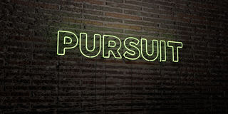 PURSUIT -Realistic Neon Sign on Brick Wall background - 3D rendered royalty free stock image Stock Photos