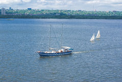 Pursuit on a river. Pursuit on Dnepr river, Ukraine Stock Photography