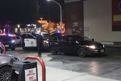 Pursuit Termination. Scene of an LAPD pursuit termination at a gas station at the intersection of Ventura Blvd. and Topanga Blvd. The pursuit ended at around 10 Royalty Free Stock Image