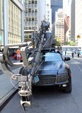 Pursuit vehicule. From Pursuit.com the modified Porsche Turbo Cayenne camera vehicule capture on filming location in the finnacial district of Manhattan New York Royalty Free Stock Images