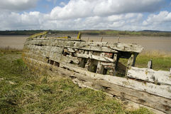 Purton Hulks, Severn Collier. Remains of the Severn Collier, built in Stourport 1937, and beached at Purton in 1965 to help prevent the River Severn erroding stock photo
