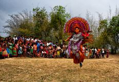 Chhau Dance of India. Purulia Chhau Dance is traditional indian dance which is presented with great cultural vibes royalty free stock photo