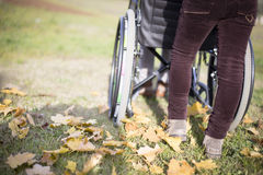 Pusching wheelchair. Person pusching a wheelchair in an autumn day