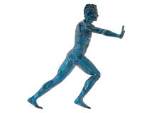 Push. Blue man sculpture push what you want - 3d illustration Royalty Free Stock Photos
