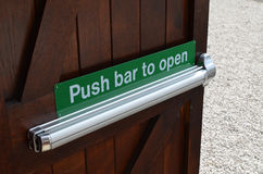 Push bar to open sign. Stock Photography