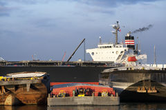Push barges and a bulk carrier Royalty Free Stock Images