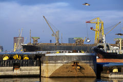Push barges moored in the port and a bulk carrier is getting loaded in the background Royalty Free Stock Photography