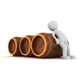 Push barrels. A 3d character is push the three barrels Royalty Free Stock Images