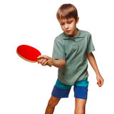 Push boy blond man table tennis children playing Stock Photos
