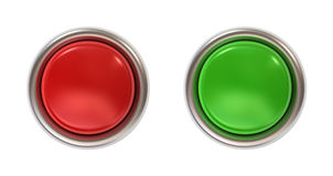 Push button. Red and green push button, front view Stock Photo