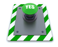 Push button. 3d render of push button with symbol Royalty Free Stock Photography