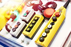 Push button control panels for electrical. Equipment royalty free stock images