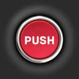 Push button, 3d red glossy metallic icon, . Royalty Free Stock Images