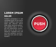 Push button, 3d red glossy metallic icon, vector Stock Photography