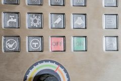 Push-button digital control panel of CNC machine.  stock image