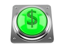 Push button with dollar symbol. On white background Royalty Free Stock Image