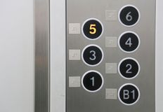 Push button of the elevator. Push button for the number of floors with the indication of Braille of the elevator stock image