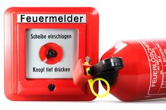 Push-button fire alarm Stock Images