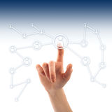 Push the button. Hand pressing social network icon Stock Images