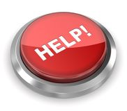 Push Button - Help. 3d rendered image Royalty Free Stock Photos