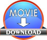 Push button MOVIE download - Vector. A circular push button to download MOVIE - Vector Stock Images