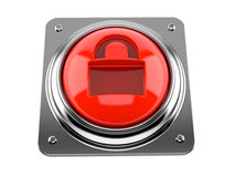 Push button with padlock logo. Isolated on white background Royalty Free Stock Photography
