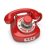 Push Button. Red phone with emergency button. Push the button to call royalty free illustration