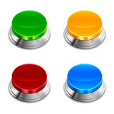 Push Button. A set of colorful push buttons with chrome drama royalty free illustration