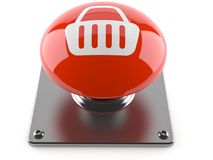 Push button with shopping basket icon Stock Image