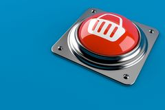 Push button with shopping basket. Isolated on blue background. 3d illustration Royalty Free Stock Images