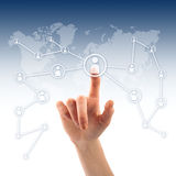 Push the button. Social network. Hand pressing social network icon Stock Photo