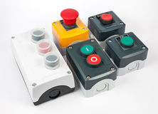 Push button station. Various types. Variety of push button station. Start stop electronic control. Assembled Stations. Various types stock images