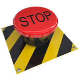 Push button stop on white Royalty Free Stock Images
