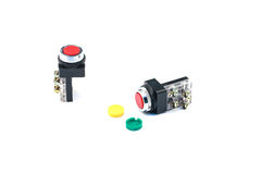 Push button switch. With white background stock images