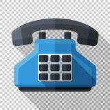 Push-button telephone icon in flat style on transparent background. Push-button telephone icon in flat style with long shadow on transparent background stock illustration