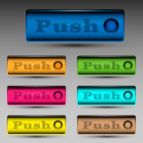 Push button template. Vector illustration of different colored push buttons template Royalty Free Stock Photography