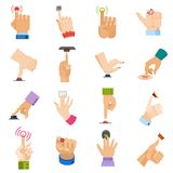 Push button vector hand pushing control-button and finger pressing knobby command-button start illustration set of arms vector illustration