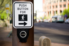 Push Button Walk Sign Downtown Pedestrian Walkway stock photo