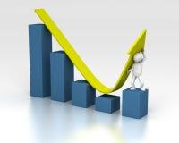 Push chart upwards despite of downturn. 3D rendering of figure helping chart upwards despite of a downturn Royalty Free Stock Photo