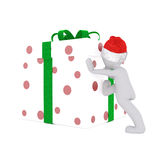 Push the christmas gift box Royalty Free Stock Photo