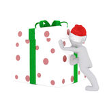 Push the christmas gift box Royalty Free Stock Images