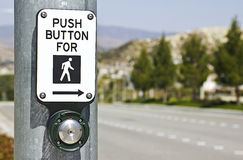 Push for Crosswalk. Crosswalk button in a new residential neighborhood stock photography