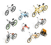 Push Cycles Isometric Set Royalty Free Stock Images