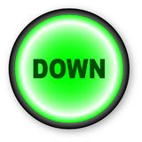 Push Down. A push button with the text DOWN over a white background Royalty Free Stock Photo