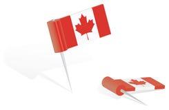 push för Kanada flaggastift Arkivfoton