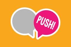 Push för textteckenvisning Det begreppsmässiga fotoet flyttar sig framåtriktat, genom att använda styrka till passerandet, orsaka stock illustrationer
