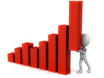 Push the graph. Little cute 3d man holding a graph bar high that would otherwise be low, concept of personal effort in meeting and exceeding goal and objective Royalty Free Stock Image
