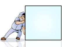 Push hard blank box. Worker Push blank box over isolated white background Royalty Free Stock Photo